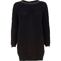 Navy geometric rib studded jumper dress