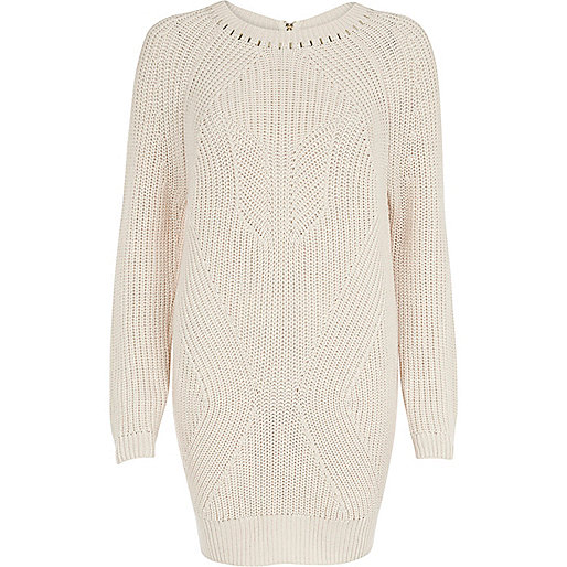 Cream geometric rib studded jumper dress