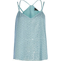Blue zig zag eyelash cami top