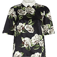 Black floral contrast collar top