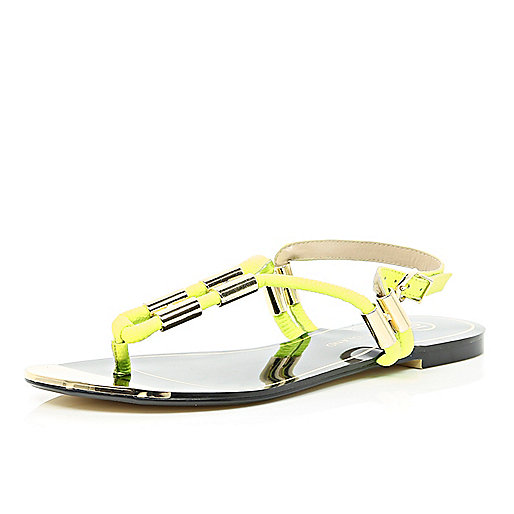 Lime metal trim toe post sandals
