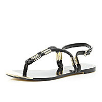 Black metal trim toe post sandals