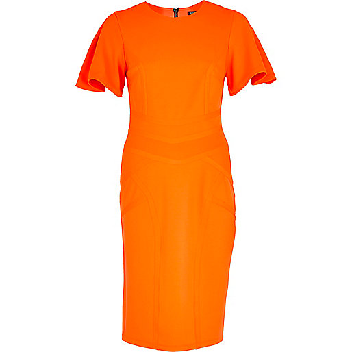 Orange ruffle sleeve pencil dress