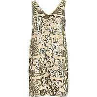 Beige sequin embellished V neck dress