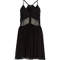 Black crochet insert slip dress