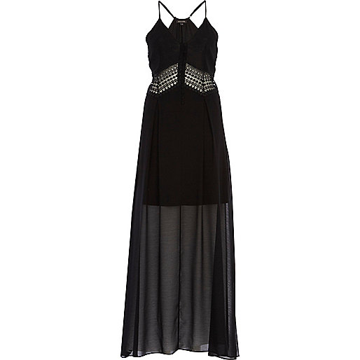 Black crochet insert slip maxi dress