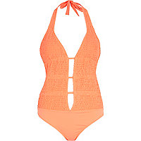 Orange shirred plunge swimsuit