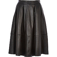 Black leather full midi skirt