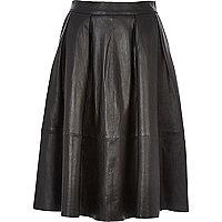 Black leather full midi skirt