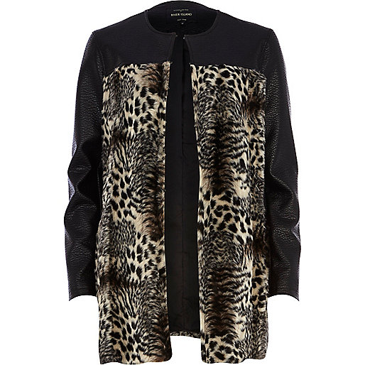 Black animal print faux fur panel coat