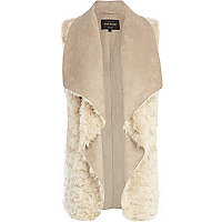 Cream faux fur longline waterfall gilet