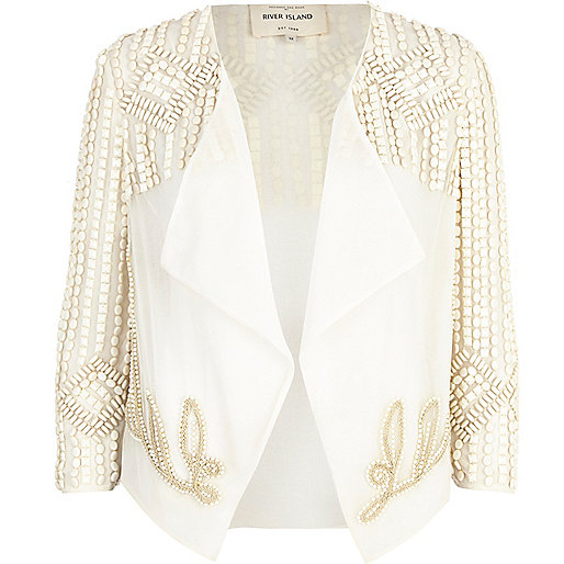 Cream beaded waterfall cropped jacket