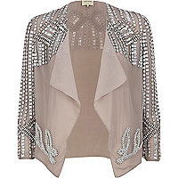 Light grey beaded cropped waterfall jacket
