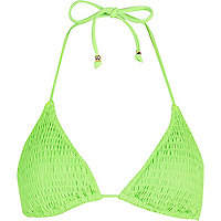 Bright green shirred triangle bikini top