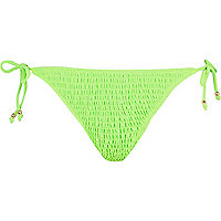 Bright green shirred tie side bikini bottoms