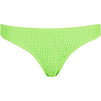 Bright green shirred bikini bottoms