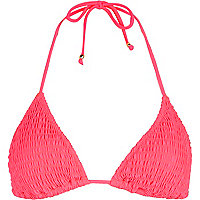 Bright pink shirred triangle bikini top