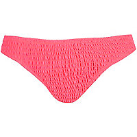 Bright pink shirred bikini bottoms