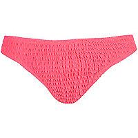Bleached neon pink shirred bikini bottoms