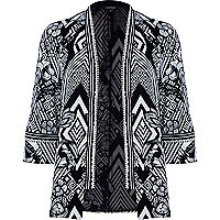 Black abstract print embellished trim kimono
