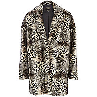 Black animal print faux fur coat