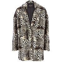 Black animal print faux fur coat