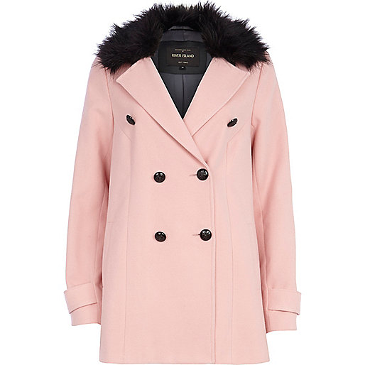 Pink faux fur collar double breasted coat