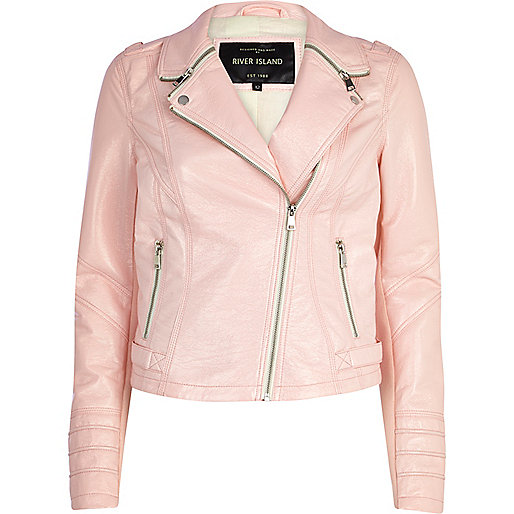 Light pink zipped collar biker jacket