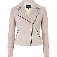 Light pink suede biker jacket