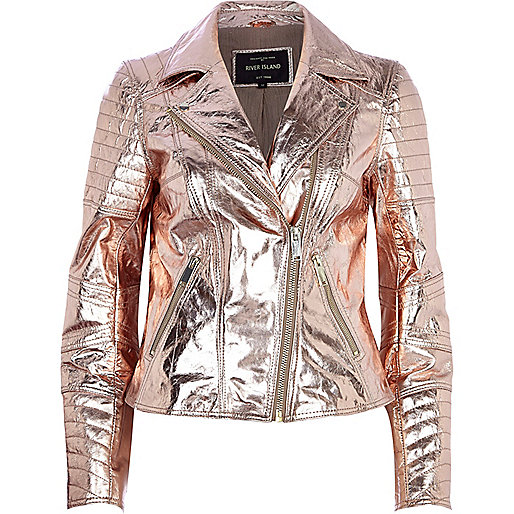 Rose gold metallic leather biker jacket