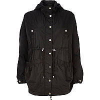 Black hooded anorak jacket