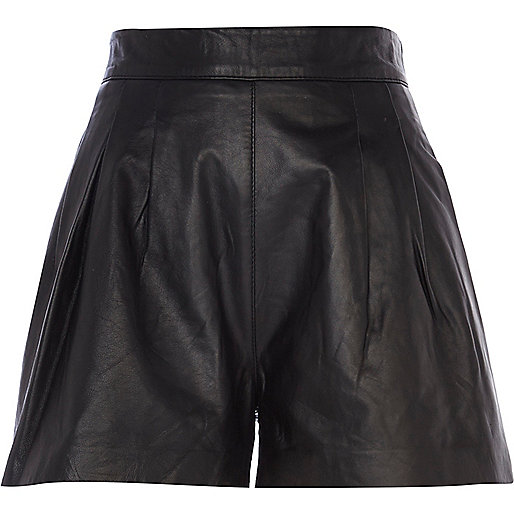 Black leather pleated high waisted shorts