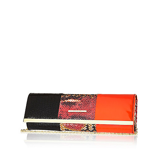 Red colour block slim clutch bag