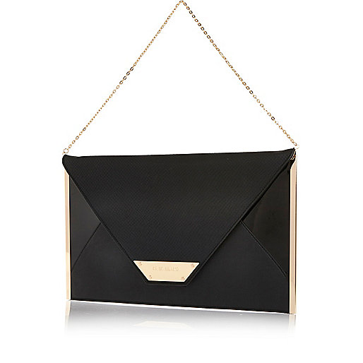 Black large envelope clutch bag