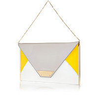 Grey colour block large envelope clutch bag