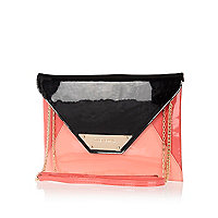 Pink colour block patent envelope clutch bag