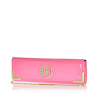 Pink patent slim clutch bag