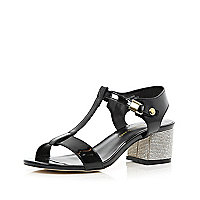 Black patent diamante block heel sandals