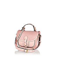 Pink leather snake satchel