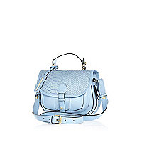 Blue leather snake satchel