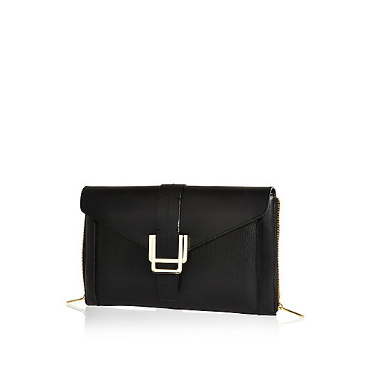 Black leather deco detail clutch bag