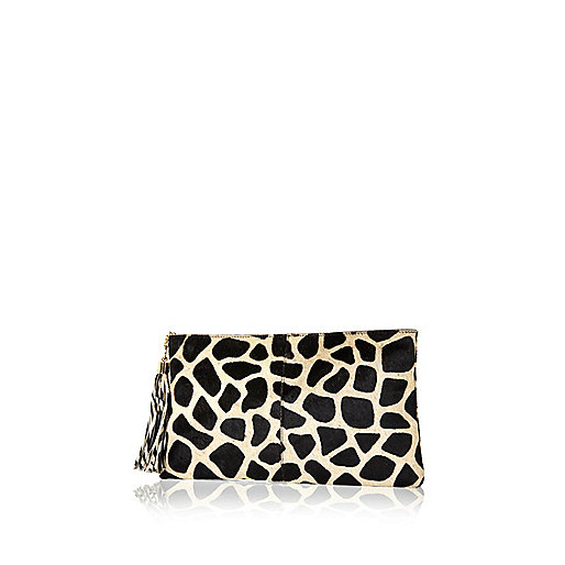 Black giraffe print pony skin clutch bag
