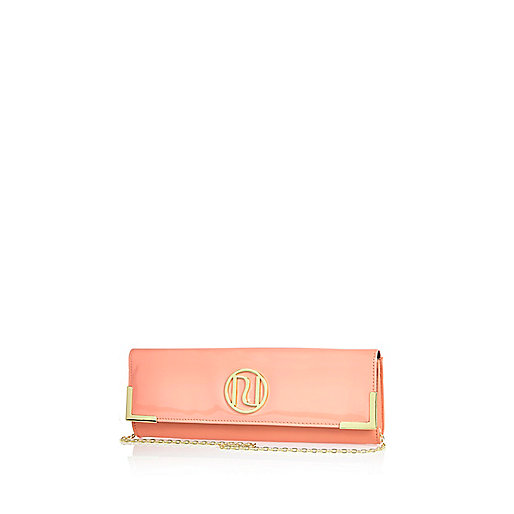 Coral slim clutch bag