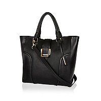 Black leather metal trim tote bag
