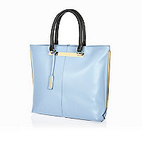 Light blue leather metal trim tote bag