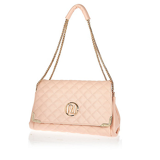 Light pink quilted underarm bag