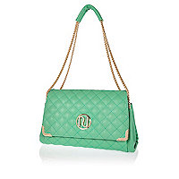 Green quilted underarm bag