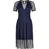 Navy polka dot midi skater dress