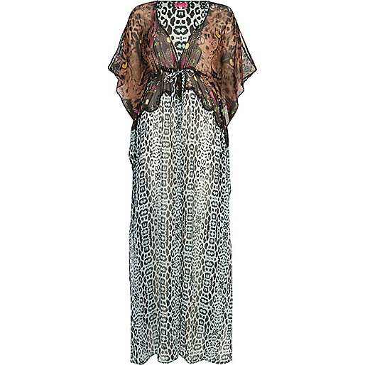 Blue animal print kimono sleeve maxi dress