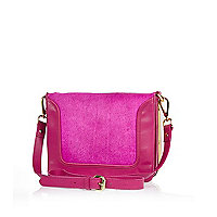 Bright pink leather pony skin cross body bag